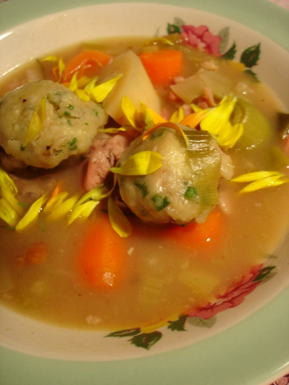 Rabbit Stew with Walnut and Chive Dumplings