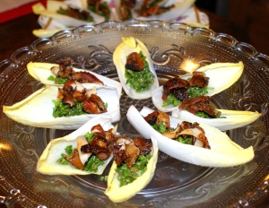 Chicory & Crispy Pigs' Ear Canapes