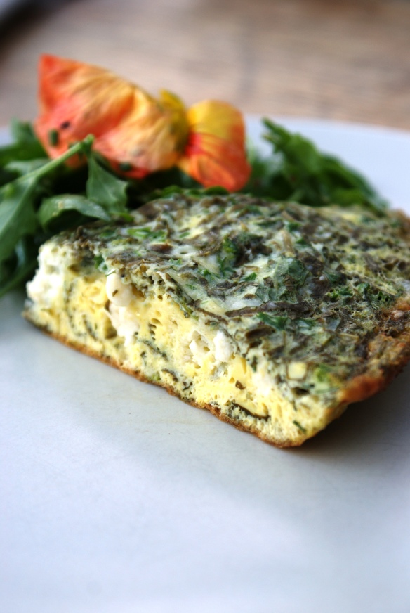 Goats Cheese and Sorrel Pouffed Fritatta