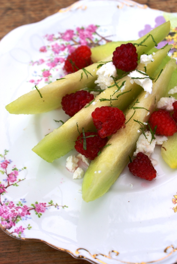 Melon, Raspberry and Goat's Cheese Salad with Rose Syrup